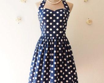 Flash Sale Navy Polka dot Dress Navy Nautical Party Dress Swing Dress Vintage Retro Modern Dress Bridesmaid Rockabilly Dress Plus Size -X...