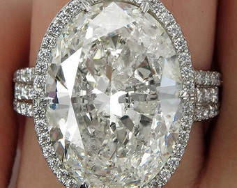 HUGE Estate Vintage 10.03ct Classic Oval Cut Diamond Halo EGL USA Engagement Platinum Ring