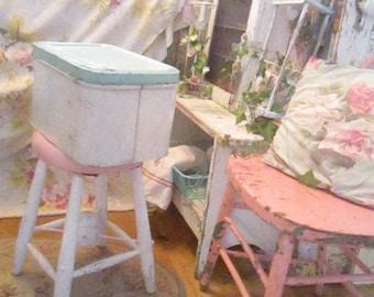 Vintage  bread box aqua and white shabby decor prairie  cottage kitchen
