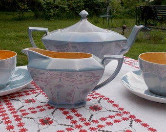 20s Blue and Orange Lusterware Teapot Creamer and Two Tea Cups and Saucers VICTORIA Czeche-Slovakia