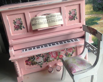Dollhouse Miniature Shabby Chic Pink Delightful Piano with Chair