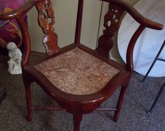 Chinese Corner Chair With Marble Seat