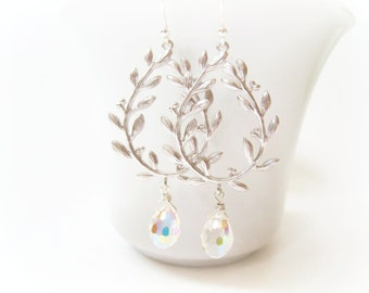 Laurel Leaf Earrings Silver Laurel Leaf Earrings Silver Leaf Earring Laurel Wreath Silver Wedding Jewelry Bridal Bride Bridesmaids Gift Idea