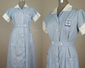 25% Off Summer Sale.... Vintage 1950s Nurse Uniform 50s Blue and White Nurse Dress Size 6/8/M