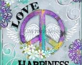 Inspirational Wall Art ~ Bohemian chic ~Teen print ~ Peace Love Happiness ~ Teen Decor ~ Art Print ~ Girls Room Art ~ Boho Hippie ~ wall art