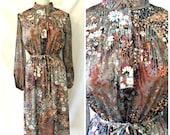 Vtg '70s Secretary Dress Lady Carol Boho Floral Mandarin Collar Midi Length Disco Flower Power Sheer Sleeves Sz 9 10 11 12 Medium / Large