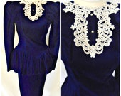 Vtg '80s Gunne Sax Jessica McClintock Blue Velvet Dress Lace Bib Collar Peplum Steampunk Goth Victorian Edwardian Style Dress Sz XS S  2 3 4