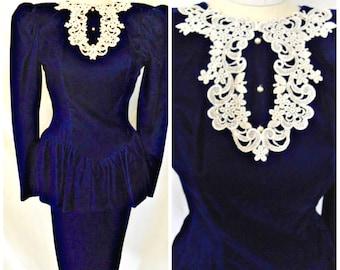 Vtg '80s Gunne Sax Jessica McClintock Blue Velvet Dress Lace Bib Collar Peplum Victorian Edwardian Steampunk Formal Gown Sz XS S  2 3 4