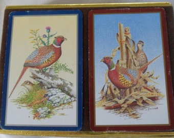 Vintage Congress  playing cards double deck in box Pheasants game bird