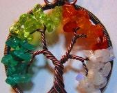 Four Seasons Gemstone Tree of Life, Wire Wrapped Tree of Life, Green Onyx, Peridot, Carnelian & Rainbow Moonstone Tree of Life