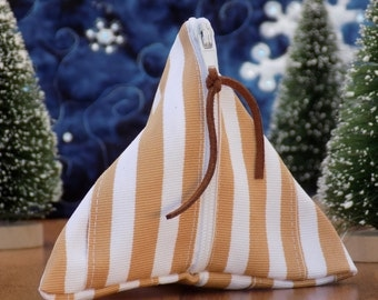Striped Ribbon Coin Pouch Zipper Bag. Under 10 Gift for Her Gifts for Teacher Coworker Teen Girl Stocking Stuffer Coin Purse Vegan Friendly