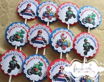 Super Mario Bros Mario Kart Cupcake Toppers