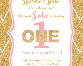 Sparkle and Shine Glitter Invitation (PDF)