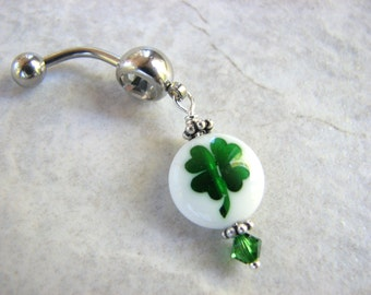St Patricks Day Jewelry, Lucky Four Leaf  Belly Button Ring, Irish Shamrock Dangle Belly Bar Navel Piercing
