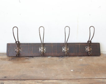 Antique Wood Coat Hat Wall Rack with Double Metal Coat Hooks