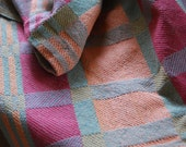 Handwoven Tea or Kitchen Towel Retro Blocks- Salmon and Wine- Sea Glass