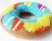 Dog Donut Toy Lime & Aqua Print W/Aqua Layer