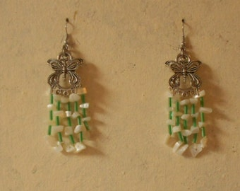 Butterfly earrings with white agates