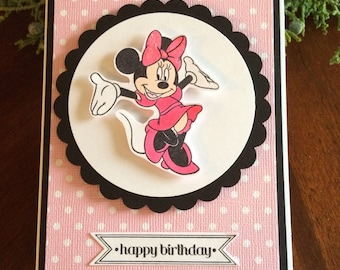 Handmade Polka Dot Minnie Mouse Card, Minnie Mouse Card, Minnie Mouse Birthday Card, Minnie Birthday Card