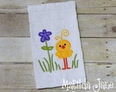 Easter Chicky with Flower Applique Kitchen Towel, Home Decor...Easter Chick Appliqued Kitchen Towel, Springtime Kitchen Decor