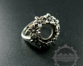 1pcs 10mm setting size flower round bezel tray 925 sterling silver ring setting DIY jewelry supplies 1213028