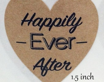 Kraft Heart Stickers (50 ) 1.5 inch Self Adhesive Labels  Gift Tags. Weddings Rustic Favors Bridal Shower Birthdays Packaging Gifts favors