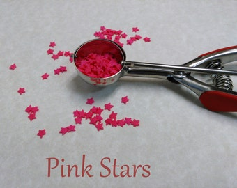 Sprinkles Pink Stars Jimmies,  Pink Decorations  Cupcake Sprinkles (2 ounces) Quins