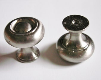Vintage Solid Brushed Nickel Finish Cabinet Drawer Knob Round 1.25 Inches