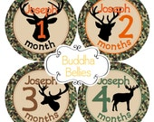 Baby Boy Hunting Deer Hunter PERSONALIZED Baby Month Stickers Camo Bodysuit Stickers Monthly Baby Stickers  Baby Shower Gift Hunter