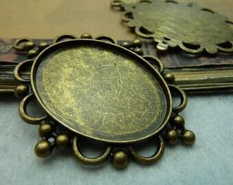 3pcs 40x30mm antique bronze cabochon pendant settings C7416