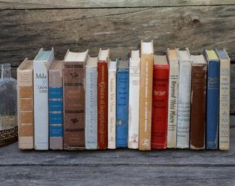 Set of 16 Vintage Books - Antique Book Decor - Photo Props - Wedding Decor - Centerpieces - Earth Tones - brown, blue, orange, beige, tan