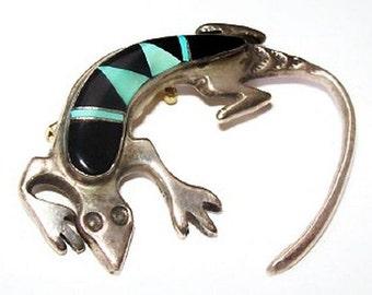 "Lizard Gecko Brooch Sterling Silver Black Onyx & Turquoise 2"" South Western Vintage"