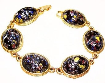 "Paisley Link Bracelet Navy Blue Yellow & Red Speckled Stones Gold Metal 7 1/4"" Vintage"