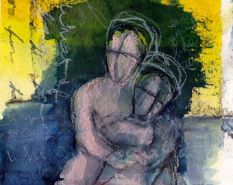 Hold me - original mixed-media art