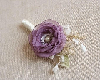 Wedding Boutonniere, Vintage Flower Boutonniere, Groom Boutonniere, Groomsmen Boutonniere, Wedding accessories, Vintage Lilac, Gold, Ivory