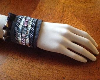 Fabric Wrist Cuff/Vintage Upcycled Wrist Cuff, Sequined Cuff