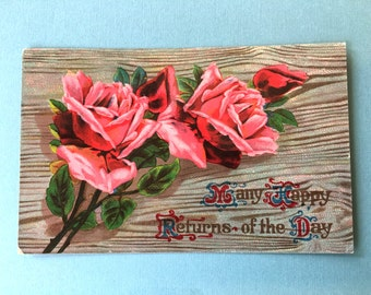 Pretty Edwardian Era Postcard-Pink Roses on Wood