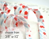 """Tulips - double fold, bias tape - 3 yards, CHOOSE 3/8"""" or 1/2"""" wide"""