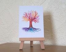 ACEO Rainbow Tree of Life painting art card