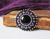 Purple Black Beaded Brooch Black Onyx Brooch Bead Embroidery Brooch Purple White Black Classical Gift idea for her MADE TO ORDER