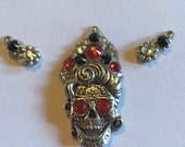 Super sweet sugar skull bindi with eye pieces for belly dance, halloween, fusion, tribal, ATS