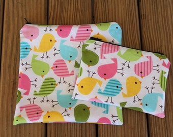 Reusable Sandwich Bag and Snack Bag Combo, Pastel Birdies - Zipper Sandwich Bag