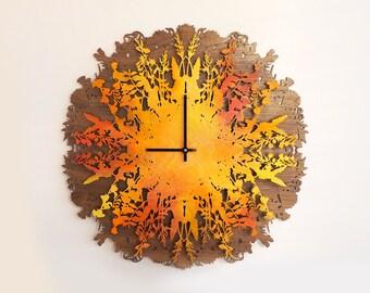 Wall Clock, Large Wall Clock, Wood Clock, Home Decor, Wood Decor, Wood Veneer