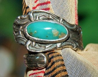 EARLY SPOON RING Sterling Cerillos Turquoise c1960
