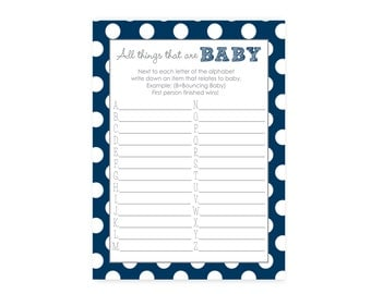 All things baby shower game -- ABC baby shower game printable -- Navy blue instant download baby item race game - Boys baby shower game card