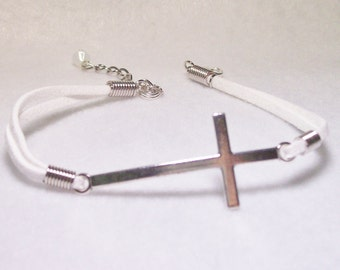 Bracelet/white suede/large cross 8 inch/sterling clasp/extension chain/Free USA shipping only