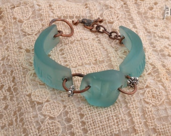 Aqua Nugguet Glass Bracelet.    FREE SHIPPING.