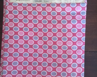 Vintage fabric NWT pink polka dot three yards