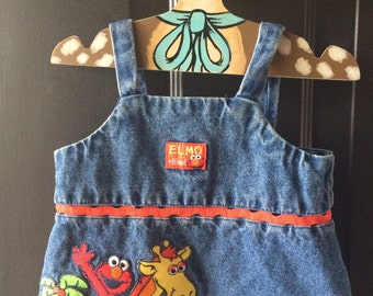 Vintage nineties denim elmo set, open back so cute 18-24 months