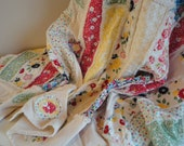Rag Quilt  30's Quilt Vintage Quilt  Large Throw  Handmade Quilt  Throw Blanket